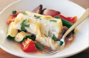 Baked fish on vegetables (low-fat) image